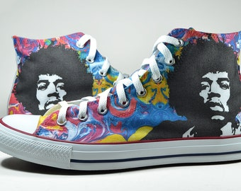 Jimi Hendrix psychedelic converse custom shoes boho sneakers personalized gift hippie
