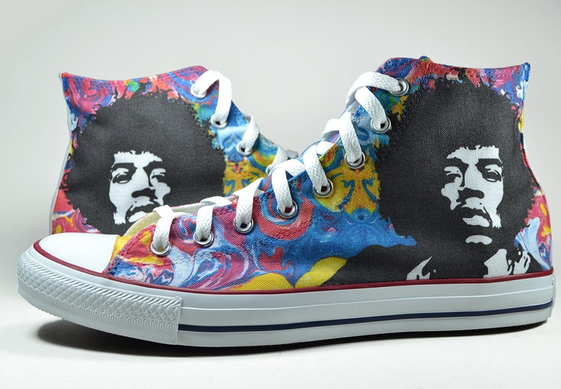 093a4edff64a7 Jimi Hendrix psychedelic converse custom shoes boho sneakers personalized  gift hippie