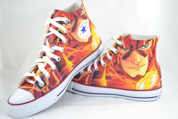The Flash Fan Art custom converse shoes marvel inspired print super hero comic gift