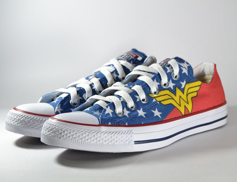 b871c9ac4168 Wonder woman inspired custom converse   superhero custom shoes