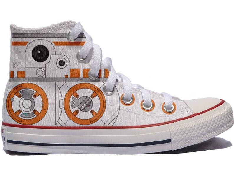 46e606b82a43 BB8 star wars inspired fan art custom converse custom shoes