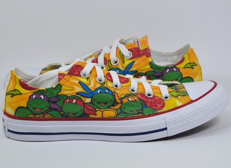 94732c86b190e Teenage mutant ninja turtles custom converse shoes personalized birthday  gift tmnt pizza Leonardo Donatello Michelangelo Raphael