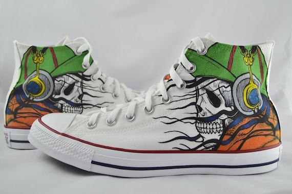Skull Custom Converse headphones music inspired custom shoes gift