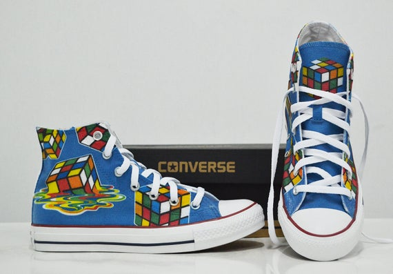 Rubik's Cube Custom Converse birthday gift custom shoes
