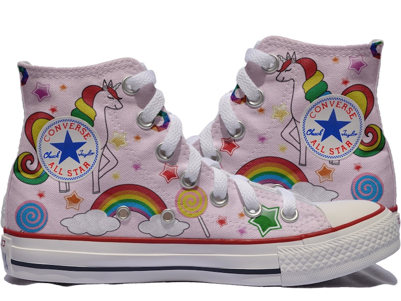 77ddbeefa290ea Unicorn custom converse Rainbow customized shoes personalized