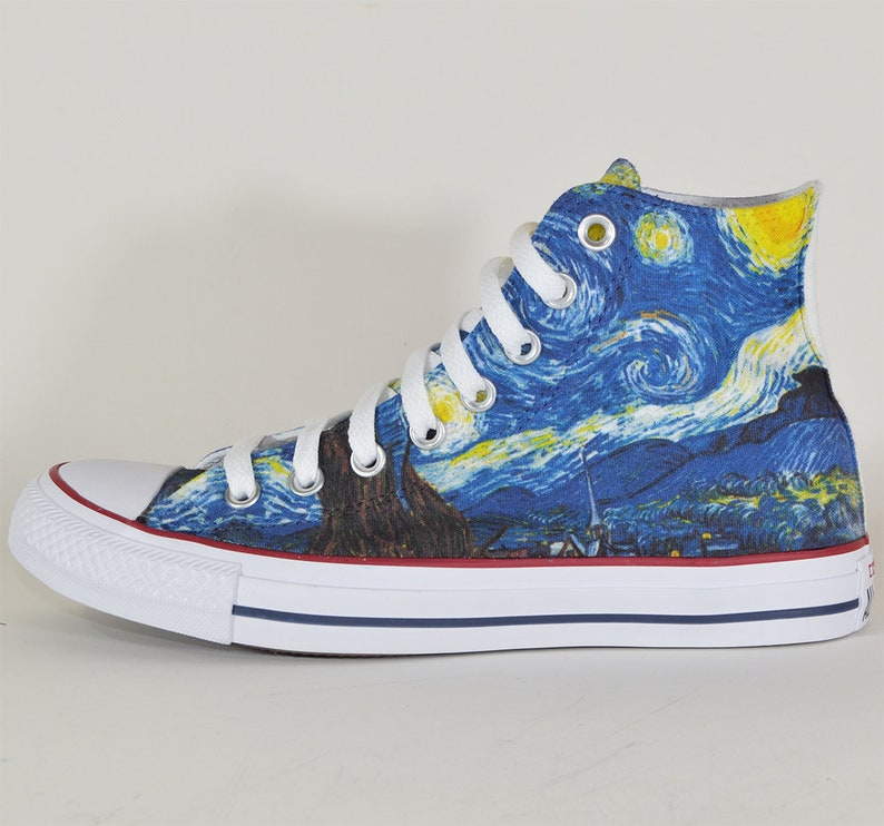 c9523eb8b3b2 Van Gogh The Starry Night custom converse personalized shoes