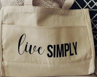 Live Simply Market Tote | Canvas Tote Bag | Shopping Bag |Farmer's Market Tote