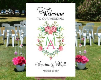Welcome to wedding sign, Wedding welcome sign printable, Printable wedding signs, Welcome to out wedding sign, Monogram wedding sign