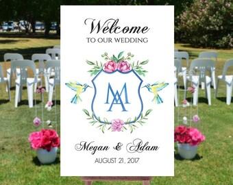 Wedding welcome sign printable, Welcome wedding sign, Printable wedding signs, Welcome to out wedding sign, Monogram wedding sign
