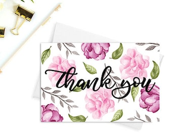 Wedding thank you cards etsy thank you cards printable wedding thank you bridal shower thank you cards baby shower thank you cards floral cards watercolor cards thecheapjerseys Gallery