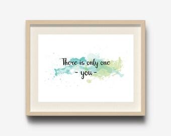 Watercolor Print, Typography Wall Art, Inspirational Quote Print, Home decor wall art, office decor, Nursery wall art