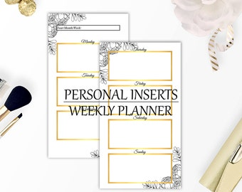 Planner inserts personal size, Printable weekly planner, Printable planner pages, Personal filofax inserts