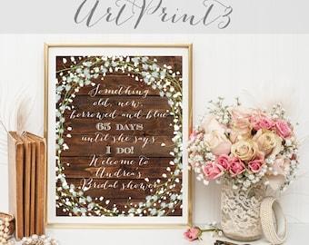 Something Old, Something New, Something Borrowed, Something Blue Sign, Floral Bridal Shower Sign Printable, Rustic Bridal Shower Sign
