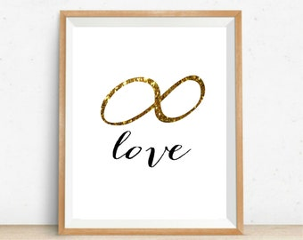 Endless Love Art Printable Gold Infinity Love Print 8x10 Instant Download Printable Art Typography Infinity Love Art Love Art Valentines