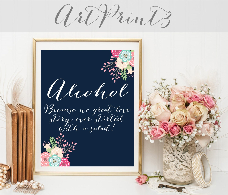 Alcohol Sign Printable Wedding Bar Signs Reception Signs Etsy
