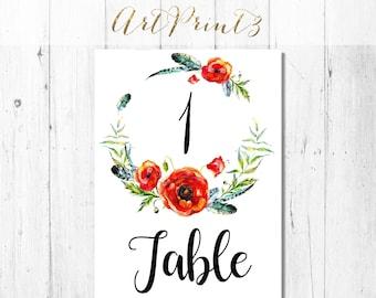 Printable Wedding Table Numbers, Floral Wreath Printable Tabletop, Rustic Poppies Printable Table Numbers, Instant Download Table Numbers