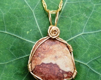 Small Picture Jasper Wire Wrapped Pendant.  Gold colored craft wire. Tumbled stone.
