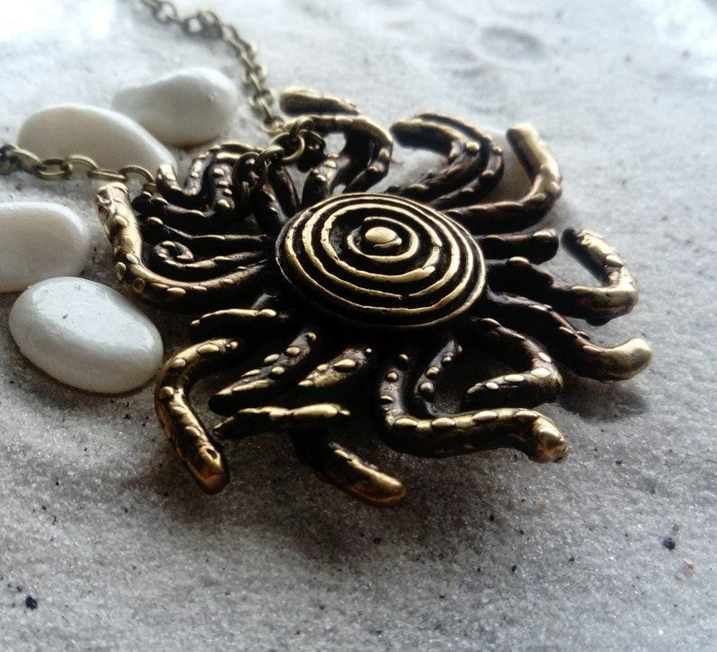 Bronze Handmade Pendant with chain Solar Spiral Sun Rays Octopus Sun Tentacles Funny Sun Planet Universe