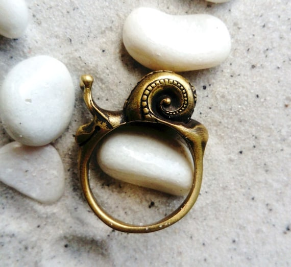 Snail Cochlea Ring Helix Ring Snail Shell Spiral Bronze Handmade Ring