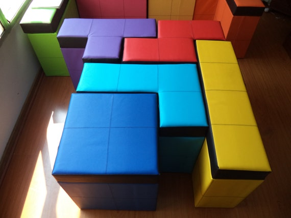 Set Of 5 Pieces Of Tetris Shaped Storage Benches 19 68 Etsy