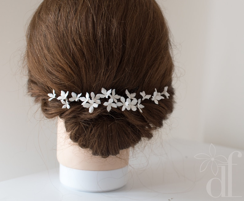 Wedding bobby pin tiny white flowers bobby White Rustic Bridal Hair Accessories Country Wedding Floral Headpiece Set wedding hair
