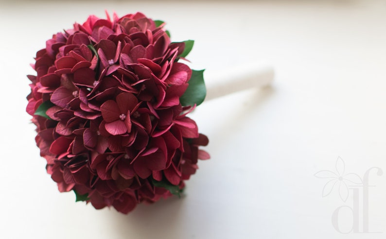 Hydrangea bouquet Silk flower bouquet Natural look bouquet Bridesmaid bouquet Real touch marsala bouquet Artificial bouquet Wedding bouquet