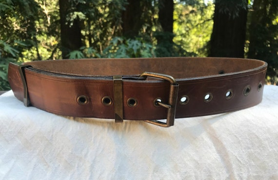 RARE Jan Barboglio Vintage Thick Brown Belt Leathe