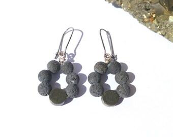 Lava stone earrings diffuser earrings essential oils earrings pyrite earrings natural black lava jewelry for women lava dangle earrings