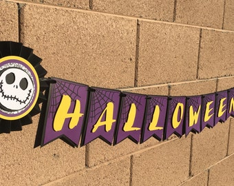Nightmare before christmas banner, halloween banner, jack banner, oogie boogie banner,