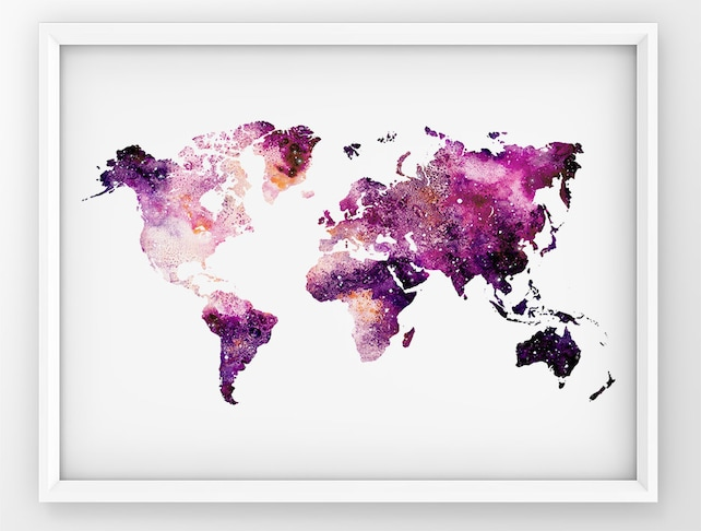 Galaxy world map world map print map wall art world map etsy image 0 gumiabroncs Images