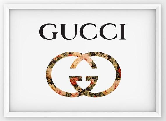 Floral Gucci Print Gucci Logo Poster Fashion Wall Decor Etsy