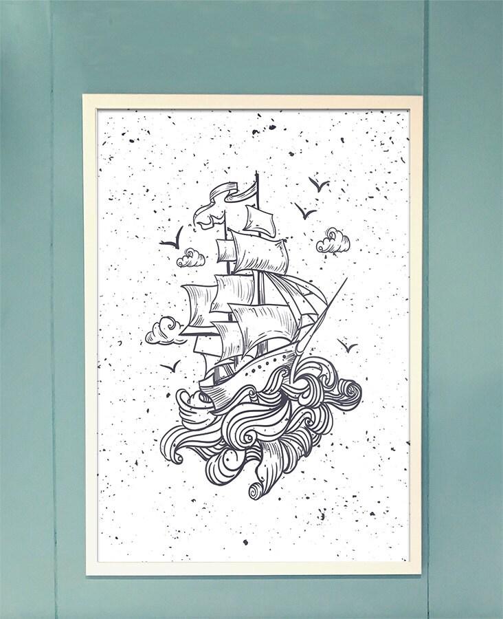 Nave aislada impresión póster de barco pirata barco arte de  d8241a807f2