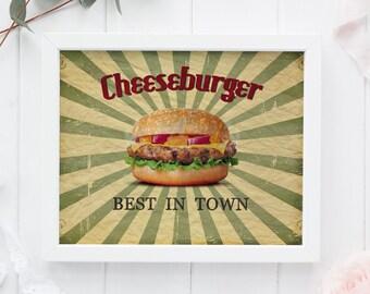 Cheeseburger Kitchen Print, Cheeseburger Wall Art, Retro Wall Art, Cheeseburger Instant Download, Kitchen Printable Art, Kitchen Wall Decor