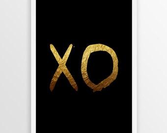 XO  Black & Gold Print, Typography Art, xo Art, Printable Art, Hugs And Kisses, xo Wall Art, Printable Typography,  XO Digital Print