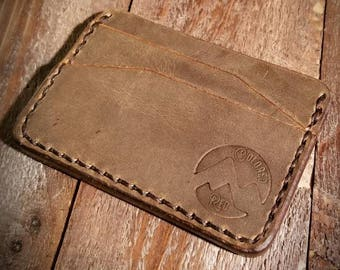 Brown Leather Wallet - Front Pocket Wallet - Leather Card Wallet - Slim Wallet - Minimalist - Made to Order - Colorado - Free Shipping