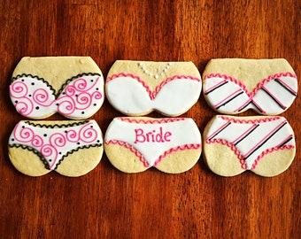 bachelorette lingerie cookies one dozen bride underwear cookies bridal shower wedding cookies party favors one dozen