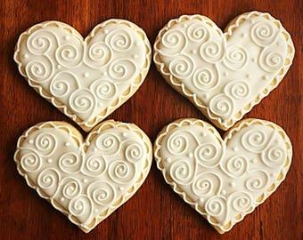 heart wedding favor cookies one dozen bridal shower party favors engagement cookie heart favor