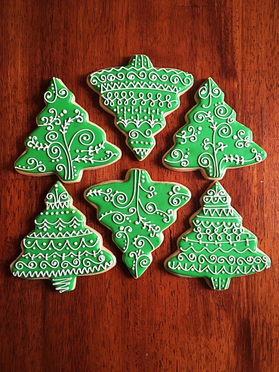 Christmas Tree Cookies One Dozen Holiday Party Favors Winter Wonderland Favors Pinetree Cookies Holiday Decorated Cookies