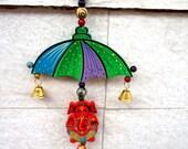 Ganesha wall hanging, bell hanging, housewarming gift, umbrella door hanging, Indian home decor, wooden ganpati