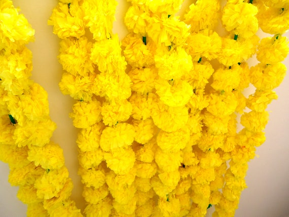 Express Shipping 42 Yellow Marigold Flower Strings Artificial Etsy