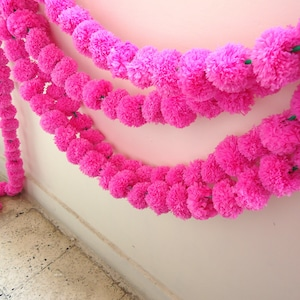 photo prop 6 Pink marigold flower string party backdrop ready to ship artificial flower garland 5 feet Indian wedding decorations