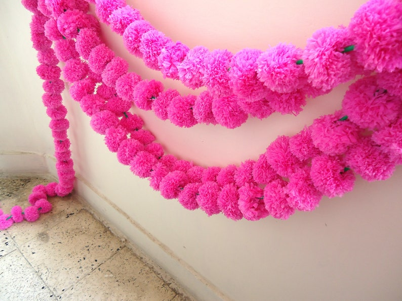 spring decor Indian wedding decorations Free Express shipping 25 bright pink marigold flower party backdrop artificial flower garlands