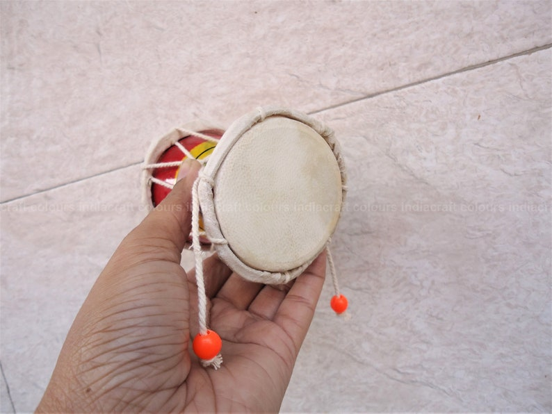 Lord Shiva's damru musical instrument, Indian souvenir gifts for friends  and family, divine sound pellet drum, religious decor toy for kids