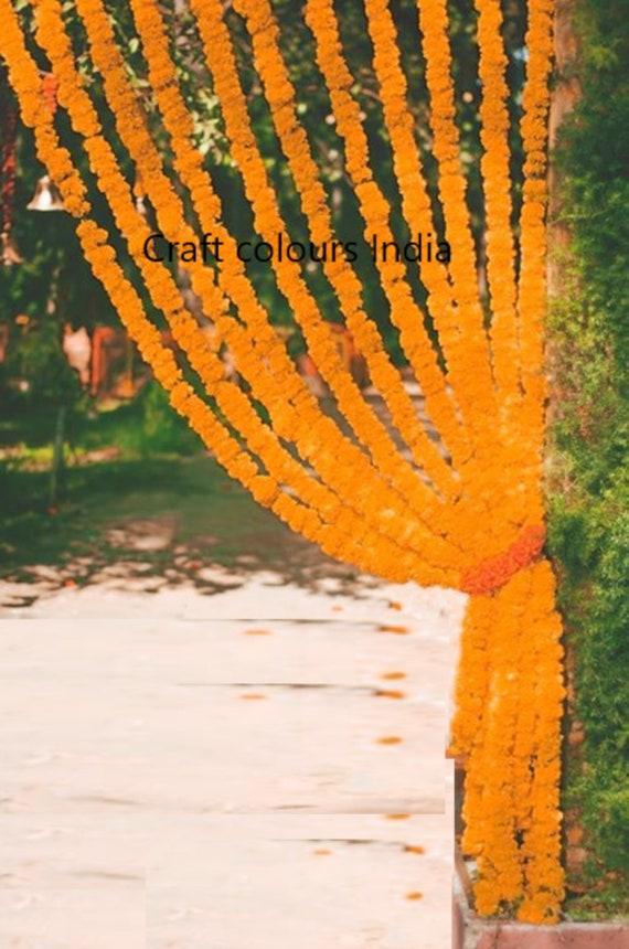 25 Free Express Shipping Artificial Orange Marigold Flower String Party Backdrop Indian Wedding Decoration Photo Prop Fake Flower Garland