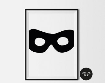 Superhero Illustration, Kids Room Decor, Children's Room Illustration, Black & White Kids Print, Digital Download, Scandi Printable Poster
