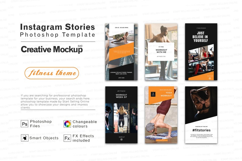 Instagram Stories Photoshop template for Fitness | Health | Gym | Yoga |  Gym Coach | Trainer | Easily Editable