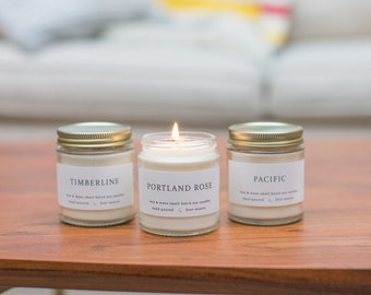 Northwest Soy Candle Gift Set - Three Soy Candle Gift Set  Oregon Washington Portland - Natural Scented Pacific - Ready to Ship Gift Organic