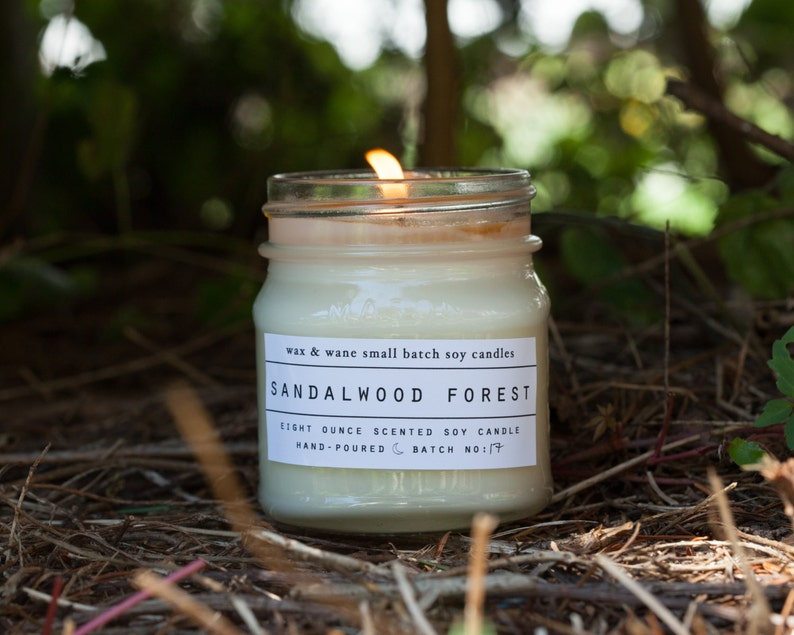 Sandalwood Forest Soy Candle - sandalwood rose - scented woodsy candle -  Soy Organic Natural Candle - ready to ship candle - man masculine