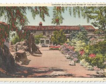 Vintage Postcard. San Juan Capistrano, California. UNUSED. Convent Buildings and Ruins of West Corridor. Vintage Paper Ephemera.