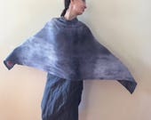 gray lambswool poncho, unique knit wool poncho, hand dyed soft scarf, artsy wrap, graphite overlay, women warm cover, gift for her OOAK 256